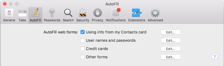 Autofill contact information in Safari