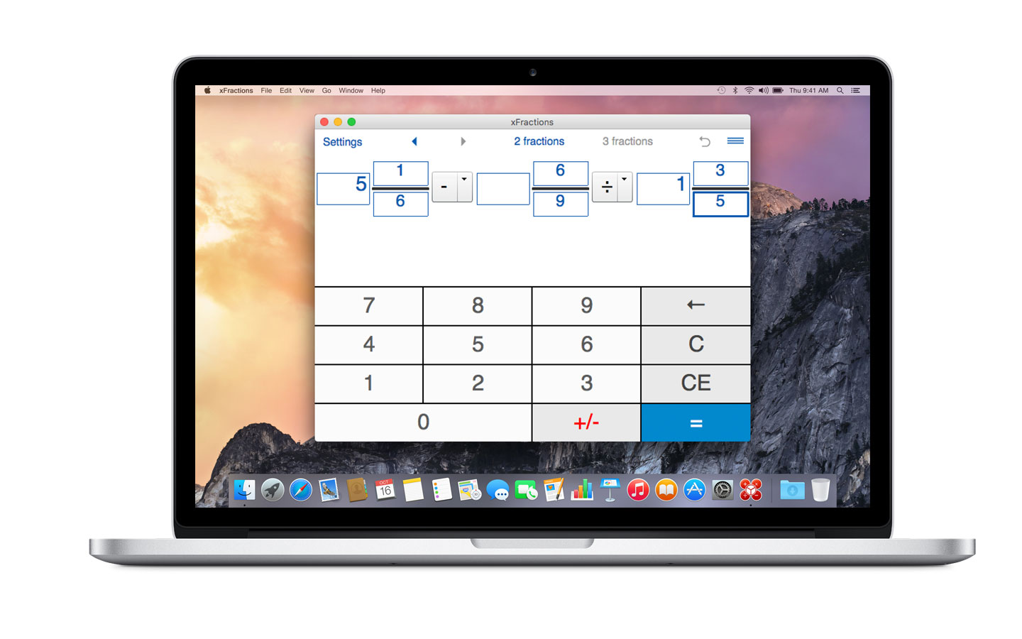 Fraction calculator for Mac