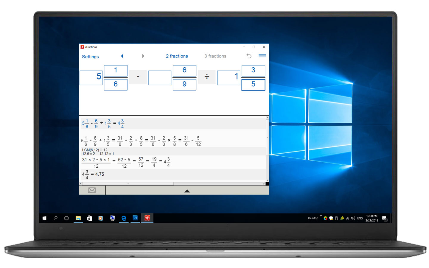 Fraction calculator for Windows
